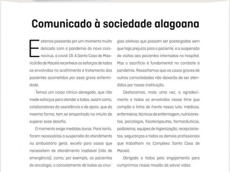 Santa Casa de Maceió faz comunicado à sociedade alagoana