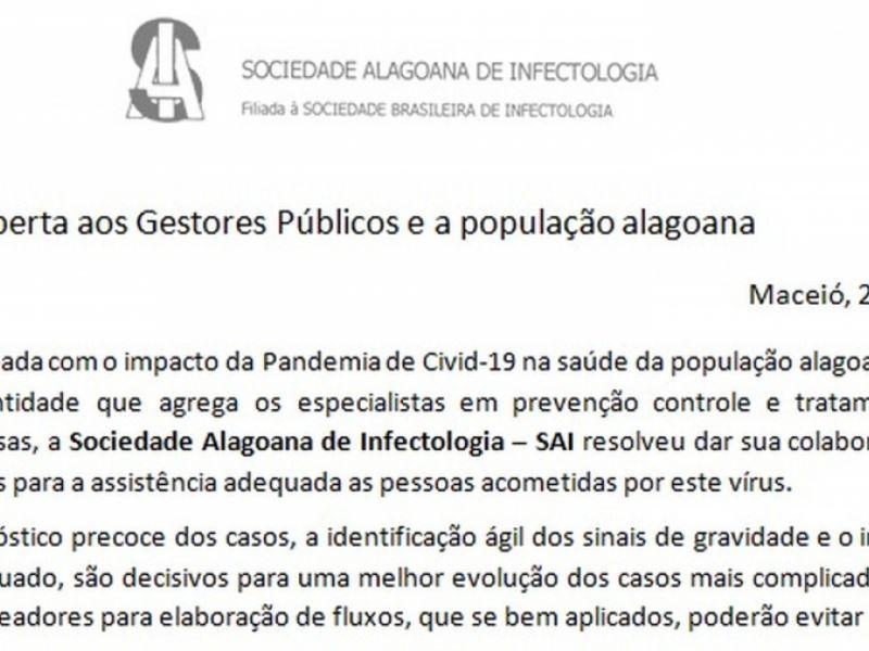 Alerta da Sociedade Alagoana de Infectologia
