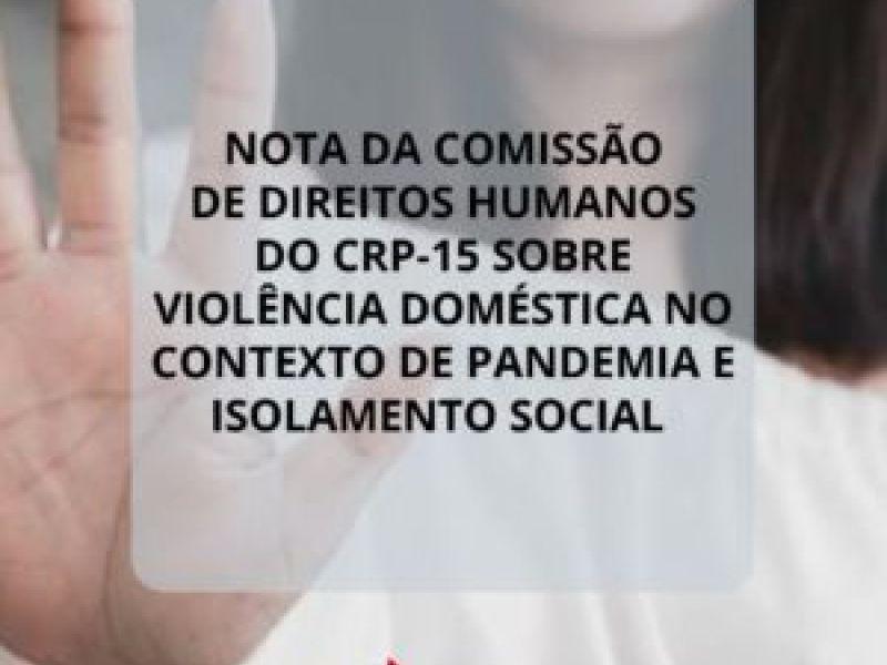 Conselho Regional de Psicologia emite nota sobre violência doméstica em época de pandemia
