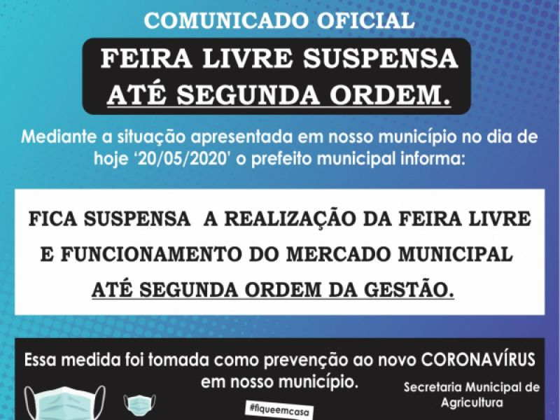 Com dois casos de covid-19 e um óbito, Prefeitura de Neópolis suspende feira-livre