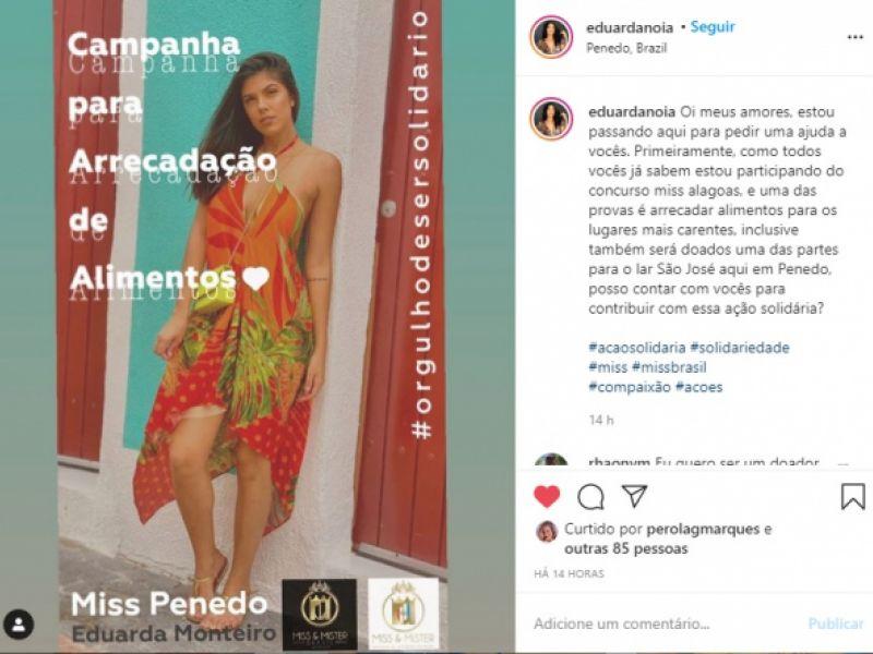 Penedense candidata ao Miss Alagoas arrecada alimentos para população carente