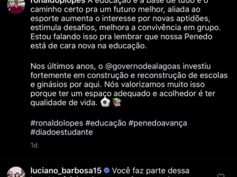 Vice-governador ressalta importância de Ronaldo Lopes para os avanços da Educação em Penedo