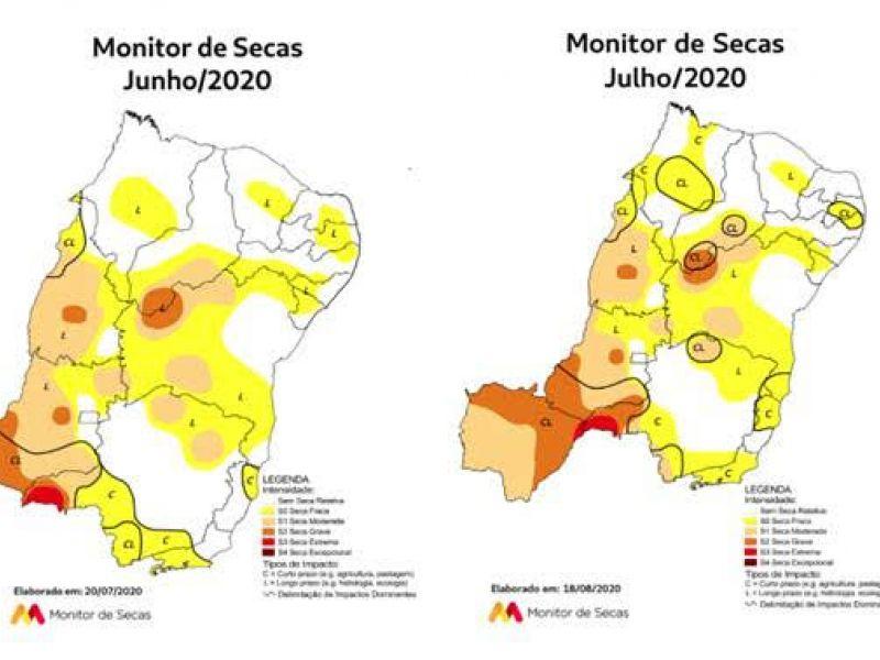 Monitor de Secas registra melhor situação da seca em Alagoas desde novembro de 2017