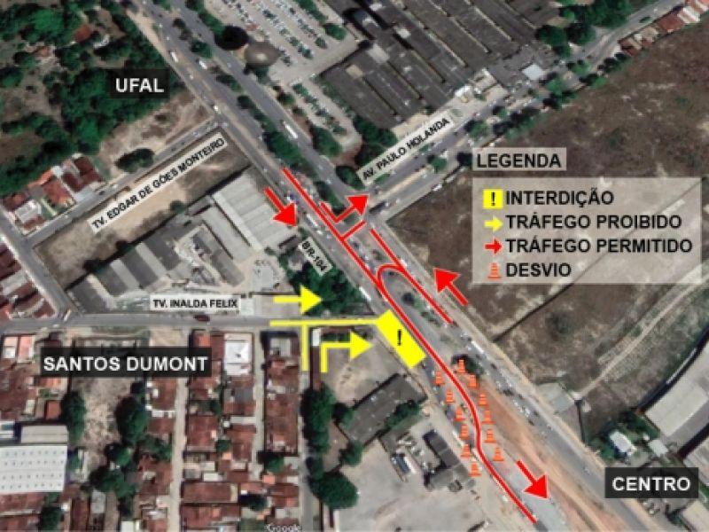 Setrand altera trânsito do entorno do Viaduto da PRF a partir de quinta-feira (1º)