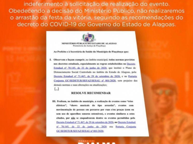 Por recomendação do MP, festa da vitória é cancelada em Piaçabuçu