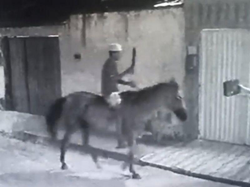 Homem é preso após ser flagrado cometendo assaltos armado e montado em cavalo