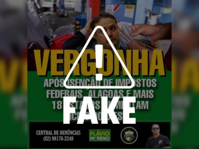 É falso que Governo de Alagoas tenha aumentado o ICMS dos combustíveis