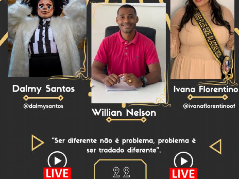 """Live: """" Ser diferente não é problema, problema é ser tratado diferente"""", será transmitida nesta segunda 22 de março."""