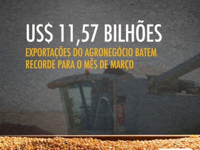 Exportações do agro em março batem recorde de US$ 11,57 bilhões