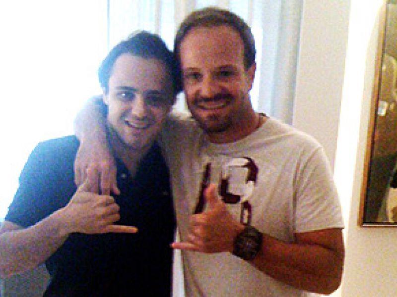 Rubens Barrichelo passa a tarde com Felipe Massa