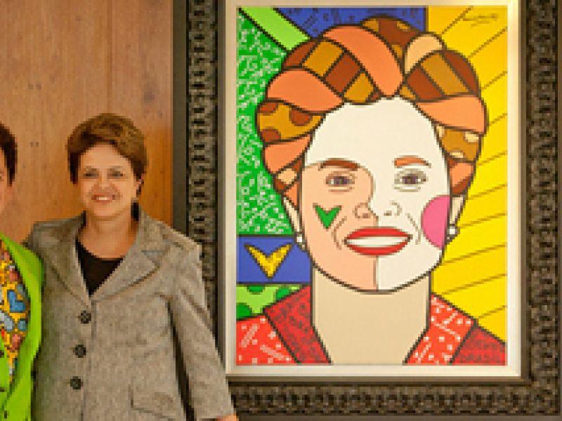 Dilma é homenageada com retrato feito por Romero Brito